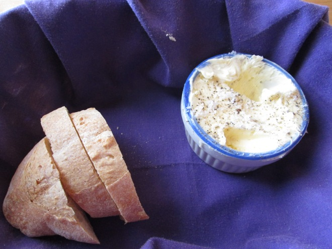 Freshly whipped butter with sea salt and cracked pepper to go with the complimentary bread
