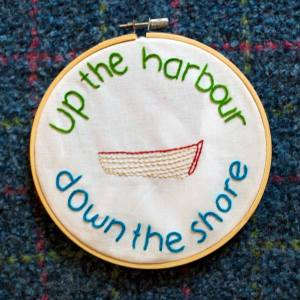"Modern Nan ""Up The Harbour Down The Shore"" embroidery"
