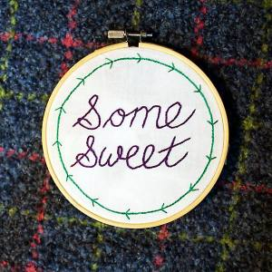 "Modern Nan ""Some Sweet"" with arrow border embroidery"